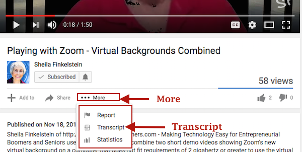 YouTube More - Drop Down Menu Transcript